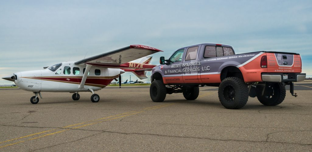 Weber Insurance airplane and truck